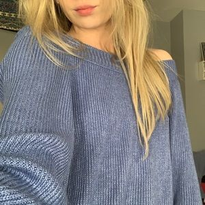 AEO blue off-the-shoulder sweater